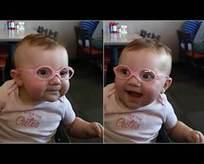 İlk defa net gören sevimli bebek