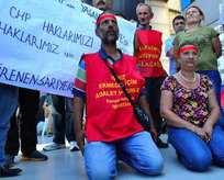 Taşeron işçilerden CHP önünde açlık grevi