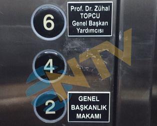 Türkeşin ismini asansörden sildiler