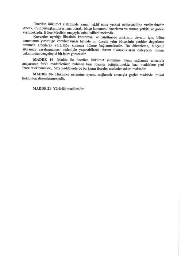 İşte 21 maddelik Yeni Anayasa teklifi
